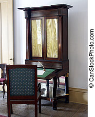 Writing Desk - Antique writing desk and chair in plantation...