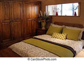 maison, intérieurs, -, chambre à coucher