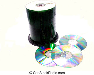 CD Rs - , a stack of CD Rs over white