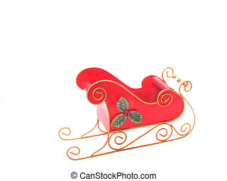 Christmass Sleigh - , a red christmass sleigh over white