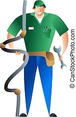 plumber - occupations and jobs - plumber happy in his work