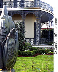 Orleans Trellis - Corn stalk fence, antebellum home with...