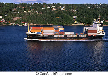 Ship - Container ship in the Oslofjord