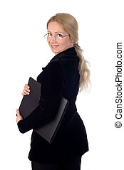 Business woman with a notepad wearing glasses