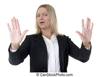 "Back up - Business woman holding up hands, ""Back up\"""