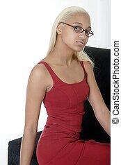 niña, silla, Sentado