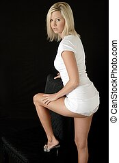 woman in short dress - Sexy woman in very short dress with...
