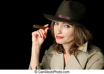 Cigar Smoking Spy - A beautiful secret agent smoking a...
