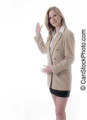 Business woman with hand up presenting or showing something...