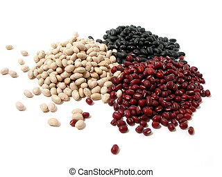 Dry beans - Dry white, red, and black beans on white...