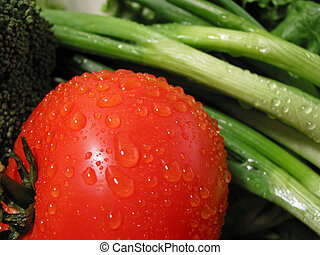 Fresh vegetables with water droplets, closeup on tomato
