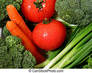 Fresh vegetables 1 - Fresh vegetables with water droplets