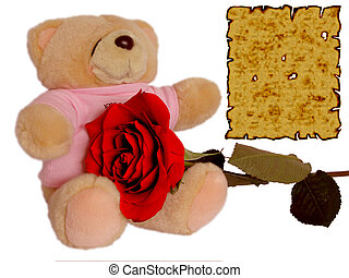 Cuddle Doll Holding Rose With Love Letter