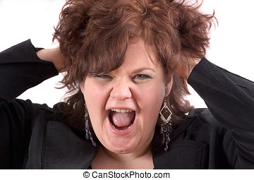 Scream! - Big woman with her hands in her hair face in a...