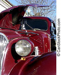 Old Hood - Open engine hood on antique 1937 Chevy