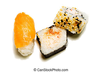 3 sushi shot in natural light