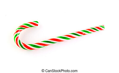 Red,green and white striped candy cane isolated on white...