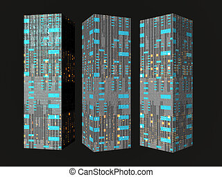 Future Buildings - Isolated futuristic buildings