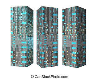 Future Buildings two - Isolated futuristic buildings