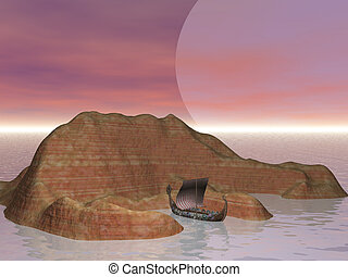 Viking Cove - Viking ship at island