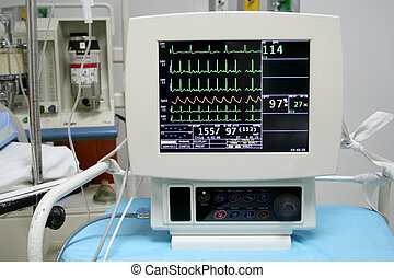 Cardiac Monitor - Cardiac monitor displaying patients ekg...