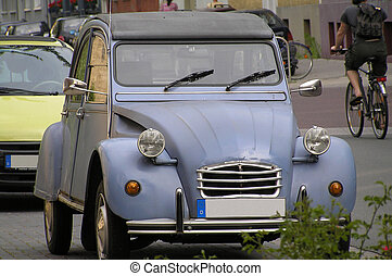 Antique European Car - Old, antique European car with a...