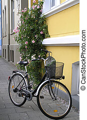 Bicycle in Europe - A classic black bicycle stands on a...