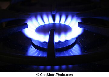 Gas Hob 2 - Close up of gas hob with blue flame.