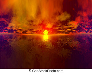 Total Sunset Panoram - 360° Panorama of a tropical sunset....