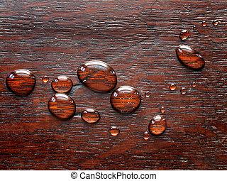 Waterdrops on Oak