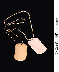 Dog Tags - ,Dog tags over black,blank add your own copy