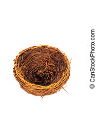 Empty Nest - , an empty birds nest,over white, good metaphor