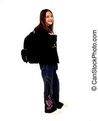School Girl - Young school girl with backpack