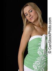 Cute girl in sexy tank top dress