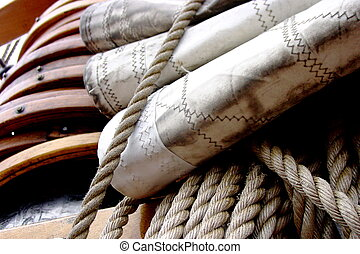 Rigging - Close up of the rigging on the Bluenose II,...
