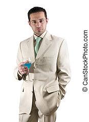 商人, 慶祝, 玻璃, 飲料, 白色, 衣服