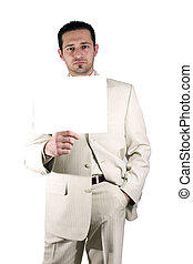 Businessman holding a blank sign - Isolated businessman with...