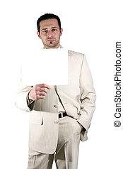 homem negócios, segurando, em branco, sinal