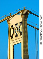 Bridge Tower - Yellow Bridge Tower with Blue Sky
