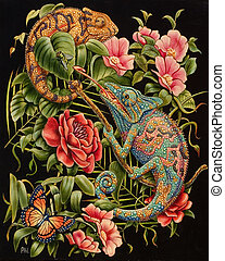 Iguanas - Oil painting