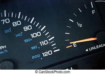 Dashboard Gauges - Selective shot of a dashboard, showing...
