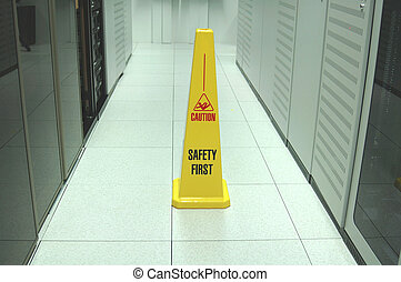 Datacenter safety - Safety zone marker in a datacenter aisle...