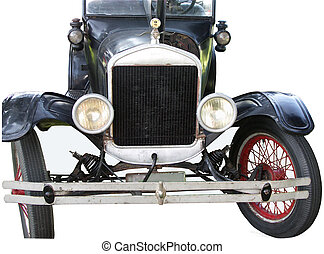 Old Automobile - Old vintage auto, isolated, showing grill...