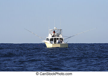 Sport Fishing Boat in Gulf Stream  Game Fishing