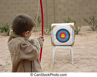 Boy Archer Three - Boy shooting arrow at target