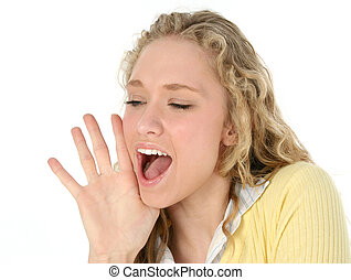 Woman Yelling - Beautiful young woman yelling