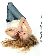 Woman Floor Beauty - Beautiful young woman with long curly...