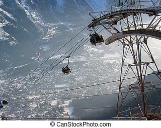 Cable Car - Cable car at Chamonix, French Alps