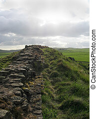 Hadrians Wall - Hadrians Roman Wall, Northumberland, UK...