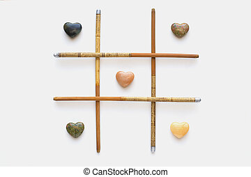 Hearts & Bones - Agate hearts and chinese bamboo chopsticks.